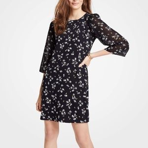 Ann Taylor Floral Chiffon Sleeve Shift Dress
